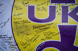 Christine and Neil Hamilton's names are rubbed out on a Ukip signature and mood board at the Ukip annual conference, Bournemouth.