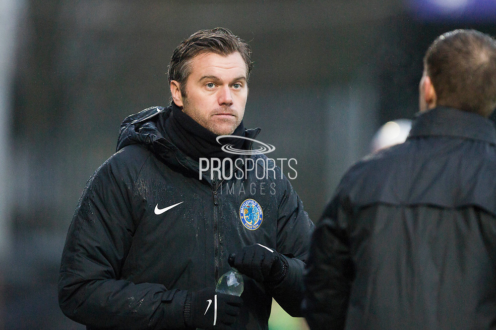 Macclesfield Town manager Daryl McMahon during the EFL Sky Bet League 2 match between Macclesfield Town and Mansfield Town at Moss Rose, Macclesfield, United Kingdom on 16 November 2019.