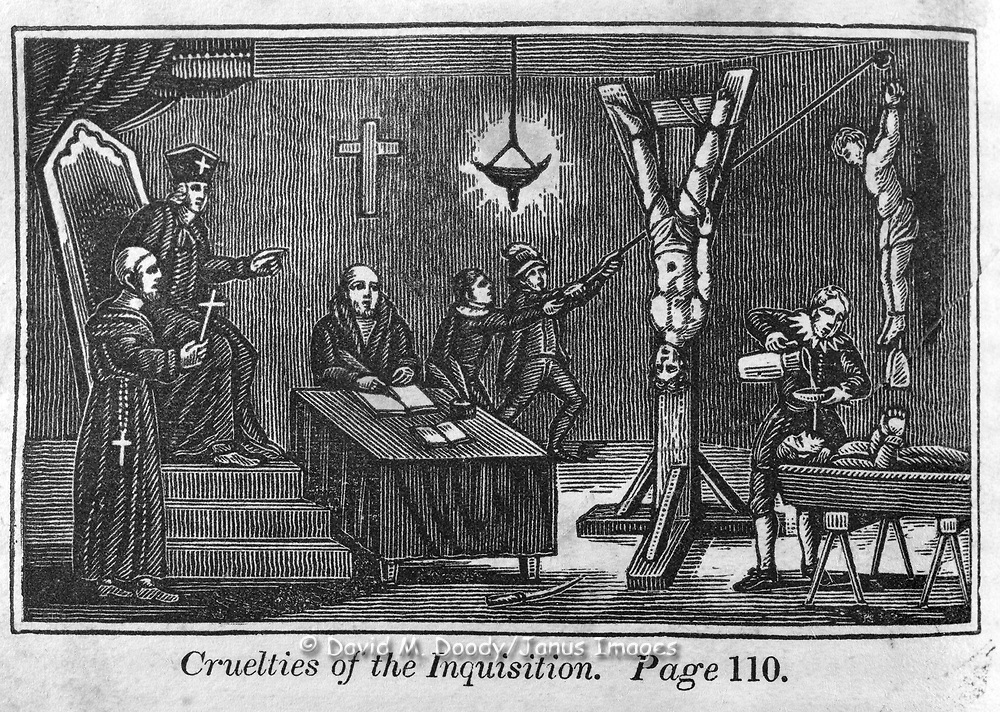 """The Inquisition in Spain"" Tortures of the Inquisition including ""waterboarding"" (water boarding) at right. Protestant vs Catholic violence. Vintage Woodcut Illustration from: ""Book of Martyrs"" Tortures carried out in the name of religion."