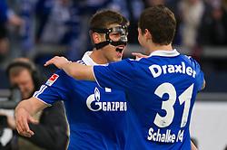 19.11.2011, Veltins Arena, Gelsenkirchen, GER, 1. FBL, FC Schalke 04 vs 1. FC Nuernberg, im Bild Jubel Klaas-Jan Huntelaar (#25 Schalke) und Julian Draxler (#31 Schalke) nach dem 1-0 // during FC Schalke 04 vs. 1. FC Nuernberg at Veltins Arena, Gelsenkirchen, GER, 2011-11-19. EXPA Pictures © 2011, PhotoCredit: EXPA/ nph/ Kurth..***** ATTENTION - OUT OF GER, CRO *****
