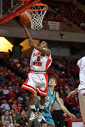 "18 November 2007: Keith ""Boo"" Richardson lays one in. Illinois State Redbirds defeated the Seahawks of the University of North Carolina - Wilmington 89-73 on Doug Collins Court in Redbird Arena on the campus of Illinois State University in Normal Illinois."