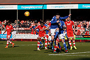 Michael Rose of Macclesfield Town clears the corner kick during the EFL Sky Bet League 2 match between Crawley Town and Macclesfield Town at The People's Pension Stadium, Crawley, England on 23 February 2019.