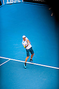Andy Murray (GBR) faced F. Lopez (ESP) in Day 6 Men's Singles play at the 2014 Australian open in Melbourne's HiSense Arena. Murray won the match 7 (7) - 6 (2), 6-4, 6-2.The darkening photographic effect was created by shooting through a structural steel grid in the Hisense Arena catwalk.