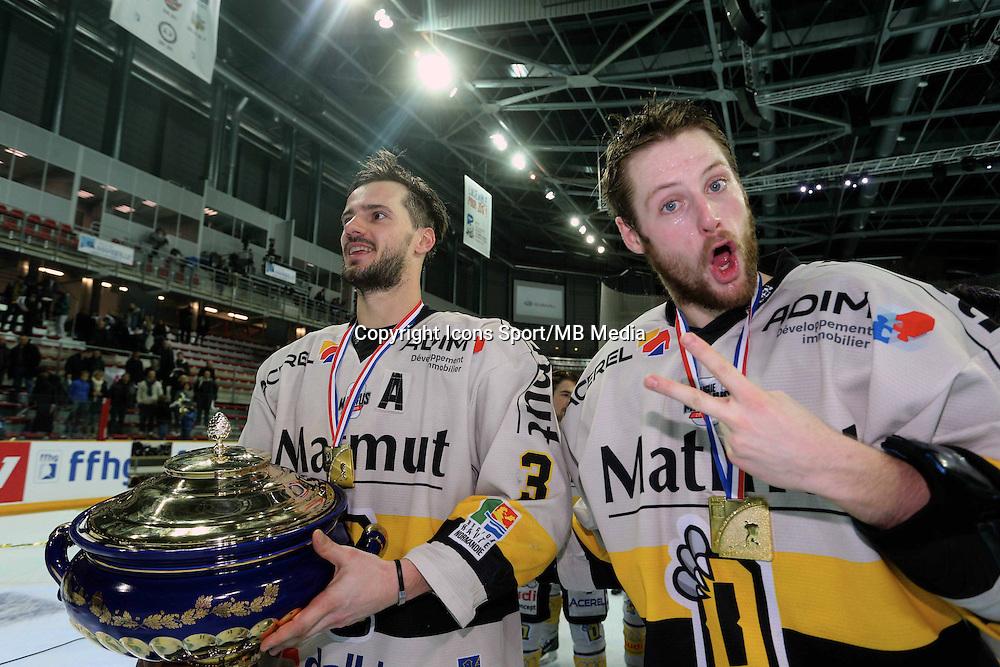 Victoire Rouen / Joie Jonathan Janil et Loic Lamperier- 25.01.2015 - Rouen / Amiens - Finale Coupe de France 2015 de Hockey sur glace<br />Photo : Xavier Laine / Icon Sport *** Local Caption ***