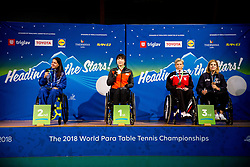 Medal ceremony during Day 4 of SPINT 2018 - World Para Table Tennis Championships, on October 20, 2018, in Arena Tri Lilije, Lasko, Slovenia. Photo by Vid Ponikvar / Sportida