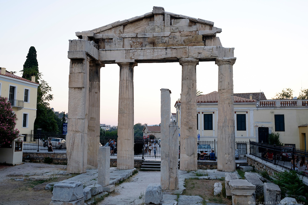 The Gate of Athena Archegetis is situated west side of the Roman Agora, in Athens and considered to be the second most prominent remain in the site after the Tower of the Winds.<br /> Constructed in 11 BCE by donations from Julius Caesar and Augustus, the gate was made of 4 Doric columns and a base of Pentelic marble. It was a monument dedicated by the Athenians to their patroness Athena Archegetis.