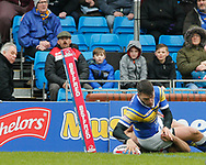 Tom Briscoe of Leeds Rhinos scores the 1st try of the game against Salford Red Devils during the Betfred Super League match at Emerald Headingley Stadium, Leeds<br /> Picture by Stephen Gaunt/Focus Images Ltd +447904 833202<br /> 02/04/2018