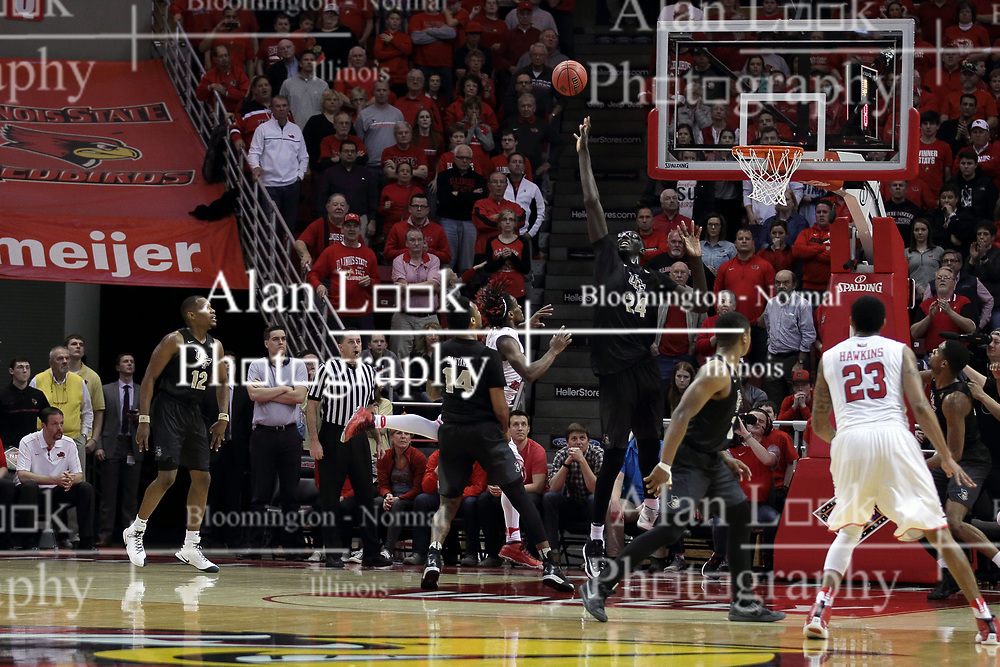 20 March 2017:  Paris Lee(1) arches a shot over Tacko Fall during a College NIT (National Invitational Tournament) 2nd round mens basketball game between the UCF (University of Central Florida) Knights and Illinois State Redbirds in  Redbird Arena, Normal IL