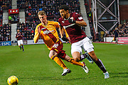 Hearts FC Forward Osman Sow attacks the box during the Ladbrokes Scottish Premiership match between Heart of Midlothian and Motherwell at Tynecastle Stadium, Gorgie, Scotland on 16 January 2016. Photo by Craig McAllister.