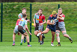 Will Capon of Bristol Academy U18 is tackled by Hugh Tizard of Harlequins Academy U18 - Mandatory by-line: Craig Thomas/JMP - 03/02/2018 - RUGBY - SGS Wise Campus - Bristol, England - Bristol U18 v Harlequins U18 - Premiership U18 League