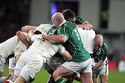John Hayes, Donncha O'Callaghen (C) and Peter Stringer (R) push the England pack back during the RBS Six Nations match between Ireland v England, Croke Park, Dublin, Saturday 28th February 2009.