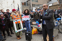 © Licensed to London News Pictures. 12/01/2016. London, UK.  Johann Malawana, Chair of the British Medical Association (BMA) speaks to junior doctors and supporters at the picket outside the Royal London Hospital in Whitechapel, east London. Junior doctors across England are taking strike action today after talks failed between the British Medical Association (BMA), NHS bosses and Health secretary, Jeremy Hunt regarding a new contract, weekend pay and working hours. Photo credit : Vickie Flores/LNP