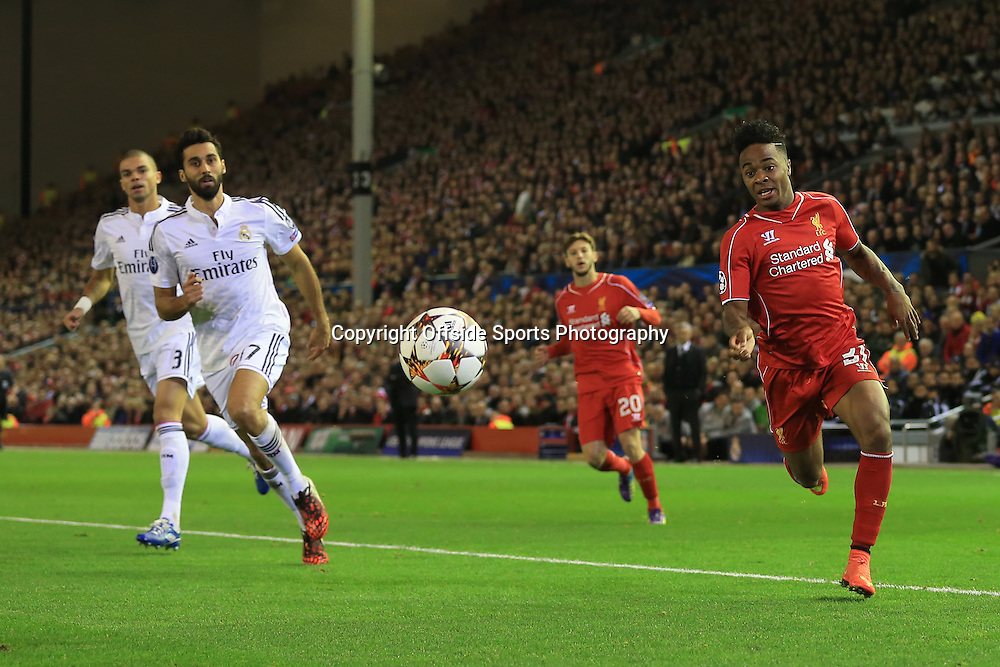22nd October 2014 - UEFA Champions League - Group B - Liverpool v Real Madrid - Raheem Sterling of Liverpool chases the ball down to the byline - Photo: Simon Stacpoole / Offside.