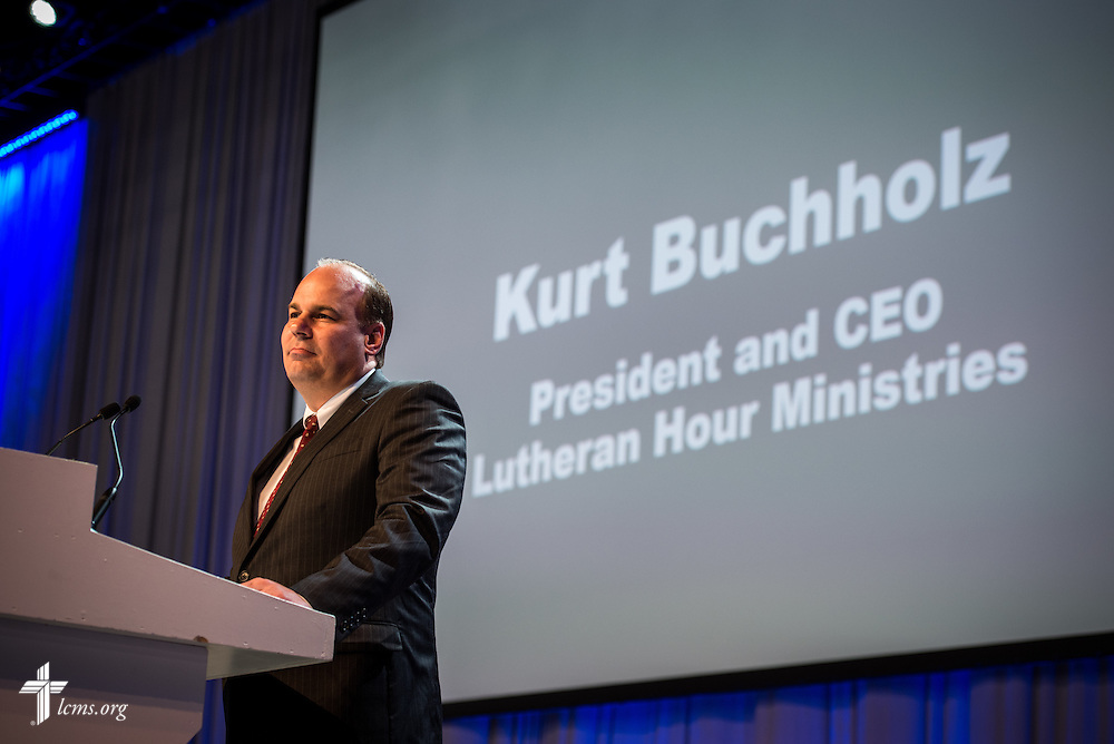 Kurt Buchholz, president and CEO of Lutheran Hour Ministries, speaks Wednesday, July 13, 2016, at the 66th Regular Convention of The Lutheran Church–Missouri Synod, in Milwaukee. LCMS/Michael Schuermann