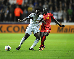 Swansea City's Wilfried Bony battles for the ball with Liverpool's Mamadou Sakho - Photo mandatory by-line: Joe Meredith/JMP - Tel: Mobile: 07966 386802 16/09/2013 - SPORT - FOOTBALL -  Liberty Stadium - Swansea - Swansea City V Liverpool - Barclays Premier League