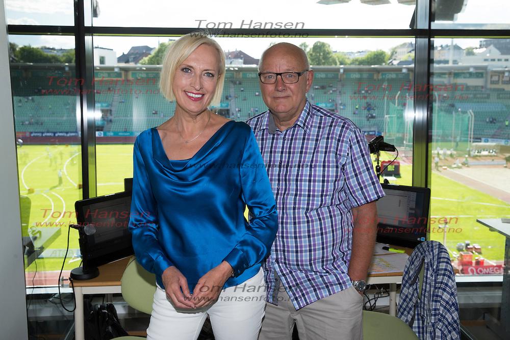 OSLO, 2014-6-11;  Bislett Games på Bislett.  Her er Karen Marie Ellefsen og Lars Lystad i kommentatorbua. FOTO:  TOM HANSEN
