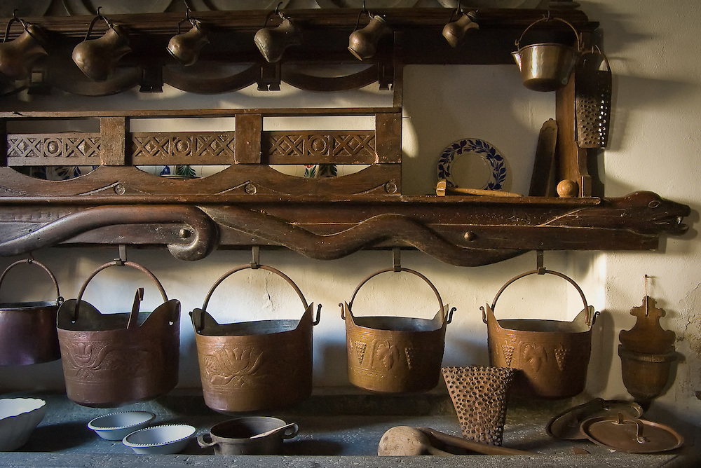 Coppper pans found in old house in the Carnia Alps of Italy