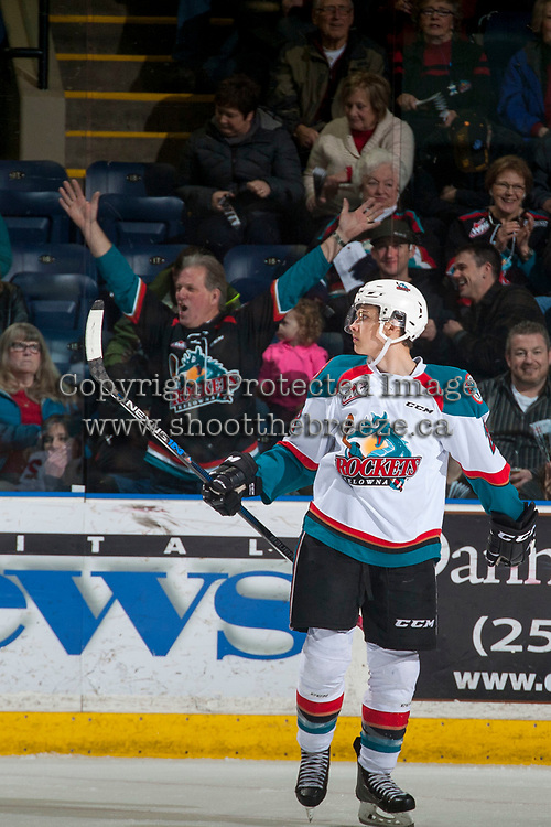 KELOWNA, CANADA - MARCH 10: Leif Mattson #28 of the Kelowna Rockets celebrates a goal against the Vancouver Giants on March 10, 2017 at Prospera Place in Kelowna, British Columbia, Canada.  (Photo by Marissa Baecker/Shoot the Breeze)  *** Local Caption ***