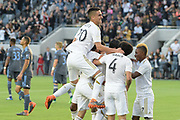 Los Angeles FC teammates celebrate in the game against New York City during an MLS soccer match in Los Angeles, Sunday, May 13, 2018. The game ended in a 2-2 tie. (Ed Ruvalcaba/Image of Sport)