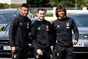 Lys Mousset (31) of AFC Bournemouth, Lewis Cook (16) of AFC Bournemouth and Nathan Ake (5) of AFC Bournemouth arriving at the Vitality Stadium together before the Premier League match between Bournemouth and Crystal Palace at the Vitality Stadium, Bournemouth, England on 7 April 2018. Picture by Graham Hunt.