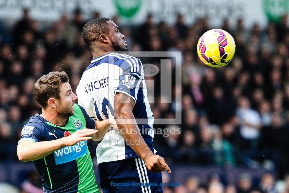 Victor Anichebe of West Bromwich Albion (right) during the Barclays Premier League match at The Hawthorns, West Bromwich<br /> Picture by Andy Kearns/Focus Images Ltd 0781 864 4264<br /> 09/11/2014
