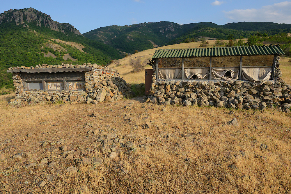 Vulture watching hide, Madzharovo, Eastern Rhodope mountains, Bulgaria