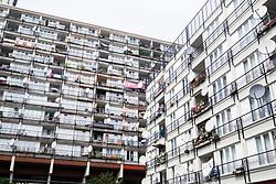 Social housing apartment blocks at Pallasseum on Pallastrasse in Schoeneberg district of Berlin, Germany.