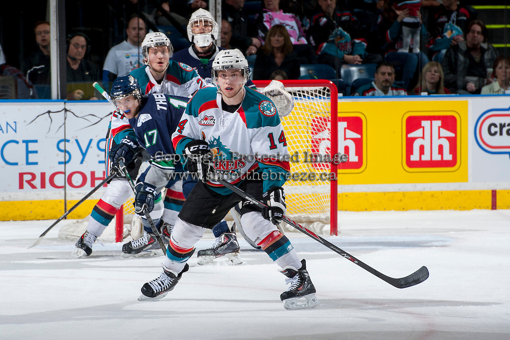 KELOWNA, CANADA - APRIL 3: Rourke Chartier #14 of the Kelowna Rockets looks for the pass against the Seattle Thunderbirds on April 3, 2014 during Game 1 of the second round of WHL Playoffs at Prospera Place in Kelowna, British Columbia, Canada.   (Photo by Marissa Baecker/Getty Images)  *** Local Caption *** Rourke Chartier;