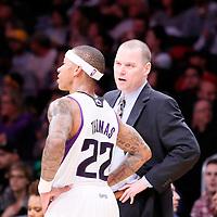 28 February 2014: Sacramento Kings point guard Isaiah Thomas (22) talks to Sacramento Kings head coach Michael Malone during the Los Angeles Lakers 126-122 victory over the Sacramento Kings at the Staples Center, Los Angeles, California, USA.