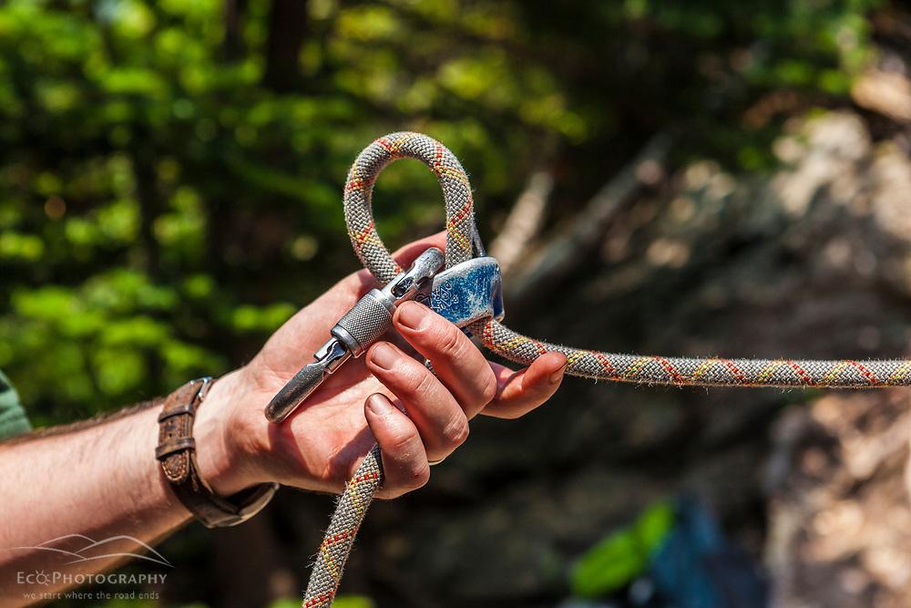 Rock climbing close-up.