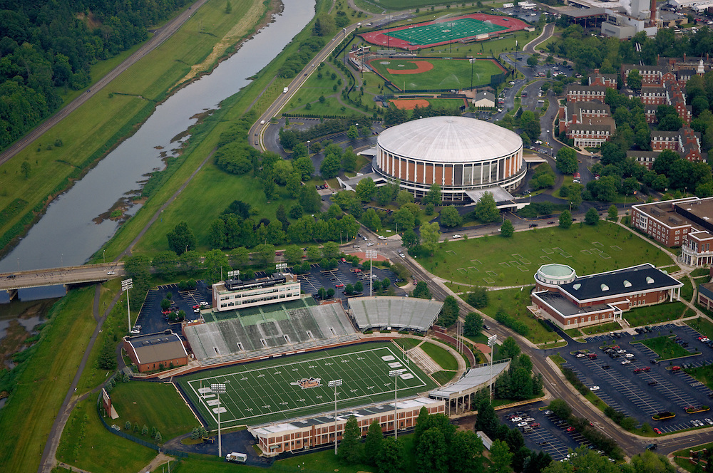 Aerial view of Peden Stadium, The Convocation Center, and the Hocking River. © Ohio University