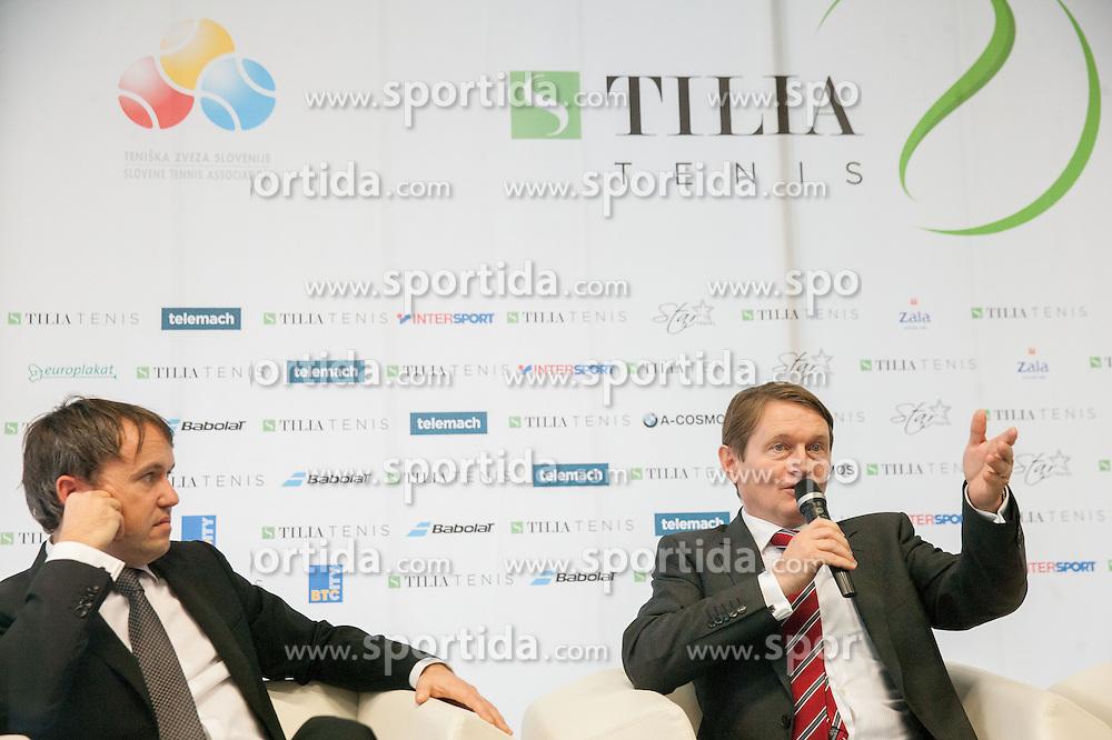 Jaka Dolenc, Andrej Kavsek of Zavarovalnica Tilia during press conference of TZS - Slovene Tennis Association after the end of the season 2012/13, on December 3, 2013 in BTC, Ljubljana, Slovenia. Photo by Vid Ponikvar / Sportida
