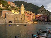Levanto, Province of La Spezia, Liguria, Italy at dusk