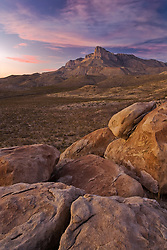 Boulders below south face of El Capitan peak, at 8,085 feet in Guadalupe Mountains National Park, Texas, USA.
