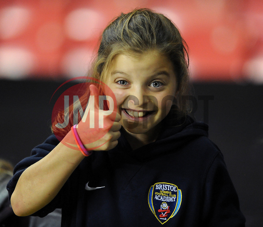 A young Bristol Academy fan - Photo mandatory by-line: Dougie Allward/JMP - Mobile: 07966 386802 - 16/10/2014 - SPORT - Football - Bristol - Ashton Gate - Bristol Academy v Raheny United - Women's Champions League