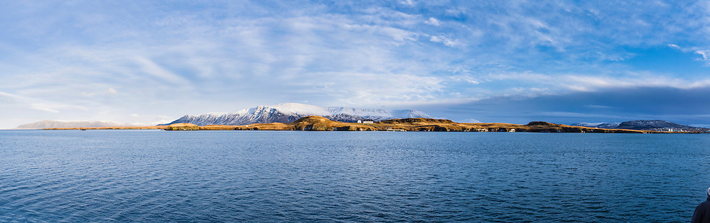 Panorama of Viðey on a calm winterday