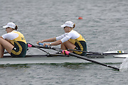 2005 FISA World Cup, Dorney Lake, Eton, ENGLAND, 28.05.05. Australian crews complete a clean sweep in the womens pairs at the World Cup Regatta Eton left to right [Silver medallist Emily Martin and Sarah Heard] - gold medallist [Sarah Outhwaite and Natalie Bale] - Broze medallist [Pauline Frasca and Robyn Selby-Smith].Photo  Peter Spurrier. .email images@intersport-images.....[Mandatory Credit Peter Spurrier/ Intersport Images] , Rowing Courses, Dorney Lake, Eton. ENGLAND