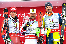 18.03.2018, Aare, SWE, FIS Weltcup Ski Alpin, Finale, Aare, Gesamt Weltcup, Herren, Siegerehrung, im Bild Marcel Hirscher 1. Platz Slalom Weltcup und Gesamt Weltcup 1. Platz // Overall World Cup winner Slalom and Giant Slalom World Cup winner Marcel Hirscher of the AUSTRIA during the allover winner Ceremony for the men's Worlcup of FIS Ski Alpine World Cup finals in Aare, Sweden on 2018/03/18. EXPA Pictures © 2018, PhotoCredit: EXPA/ Erich Spiess