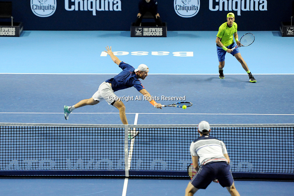 23rd October 2017, St Jakobshalle, Basel, Switzerland; ATP World Tour 500, Swiss Indoors Tennis Tournament; Dominic Inglot (GBR) in action in the match between Dominic Inglot (GBR and Marcus Daniell (NZL) against Henri Kontinen (FIN) and John Peers (AUS)