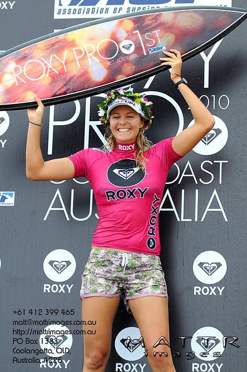 Gold Coast, Australia - March 6: Steph Gilmore back to back winner of the Roxy Pro Gold Coast 2010 at Snapper Rocks on the Gold Coast, March 6, 2010 Photo by Matt Roberts/MATTRimages.com.au | Image ID: MTR_0813.jpg