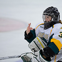 2nd year goalie Jane Kish (31) of the Regina Cougars in action during the Women's Hockey Home Game on November 25 at Co-operators arena. Credit: Arthur Ward/Arthur Images