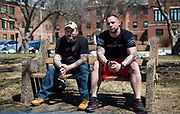Army veterans Sam Hipp, left, and Kristopher Heimerl, right, sit for a portrait at the Tomah VA Facility in Tomah, Wisconsin, Tuesday, April 24, 2018.