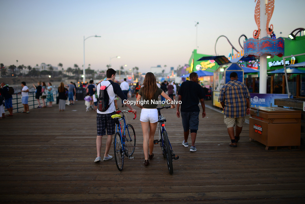 People in Santa Monica pier, California.