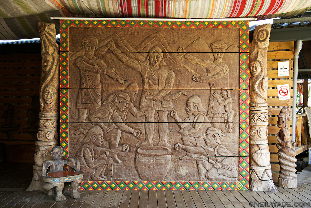 Wood carvings and artwork are everywhere in the Bunun Village.