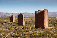Chulpas (funerary towers) remain standing after thousands of years on Bolivia's Altiplano region that averages 13,000' above sea level surrounded by the Andes mountains.