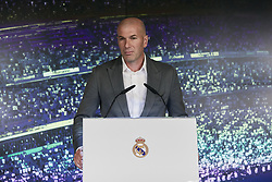 Zinedine Zidane delivers a speech during his presentation as a new Real Madrid's head coach at Santiago Bernabeu stadium in Madrid, Spain, March 11, 2019. Zidane comes back to Real Madrid after 278 days and will replace Argentinian Santiago Hernan Solari and signs until 2022. Photo by A. Perez Meca/AlterPhotos/ABACAPRESS.COM