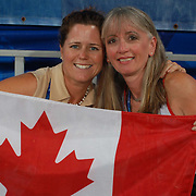 Karen Brain and her groom and friend Sharon Burton at the Hong Kong Venue of the 2008 Paralympic Games