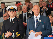Henley on Thames, England, United Kingdom, 7th July 2019, Henley Royal Regatta, Speeches, left Lt Commander, Pete REED, RN., right, Regatta Chairman Sir Steven REDGRAVE Prize Giving ceremony,  Henley Reach, [© Peter SPURRIER/Intersport Image]<br /> <br /> 17:17:28 1919 - 2019, Royal Henley Peace Regatta Centenary,