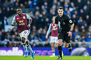 Marvelous Nakamba (Aston Villa) and Andrew Madley (Referee) during the Premier League match between Brighton and Hove Albion and Aston Villa at the American Express Community Stadium, Brighton and Hove, England on 18 January 2020.