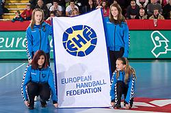 EHF's flag at handball match of Round 5 of Champions League between RK Krim Mercator and Metz Handball, France, on January 9, 2010 in Kodeljevo, Ljubljana, Slovenia. (Photo by Vid Ponikvar / Sportida)